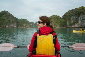Ilinca not Paddling at Halong Bay