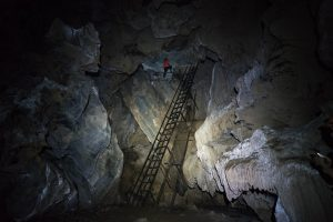 Climbing in Tien 1 Cave on Tu Lan Expedition