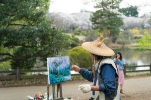 Painter at Gyoen National Garden in Tokyo